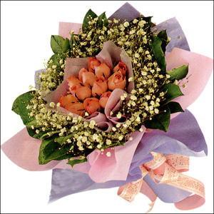 11  adet  gül ve   elyaflar   Mersin yurtiçi ve yurtdışı çiçek siparişi