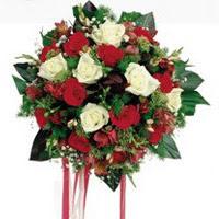Mersin kaliteli taze ve ucuz çiçekler  6 adet kirmizi 6 adet beyaz ve kir çiçekleri buket