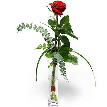 Mersin çiçek online çiçek siparişi  1 adet kirmizi gül cam yada mika vazo içerisinde