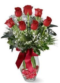 Mersin çiçek gönderme sitemiz güvenlidir  7 adet kirmizi gül cam vazo yada mika vazoda