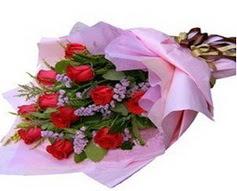 11 adet kirmizi güllerden görsel buket  Mersin 14 şubat sevgililer günü çiçek