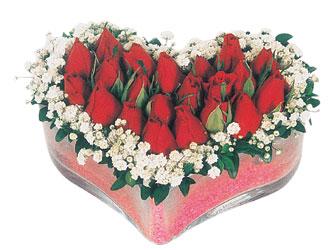 Mersin çiçek online çiçek siparişi  mika kalpte kirmizi güller 9