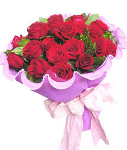 12 adet kırmızı gülden görsel buket  Mersin yurtiçi ve yurtdışı çiçek siparişi