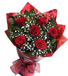 6 adet kırmızı gülden buket  Mersin online çiçek gönderme sipariş