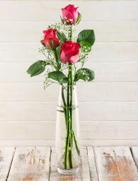 Cam içerisinde 3 kırmızı gül  Mersin çiçek servisi , çiçekçi adresleri
