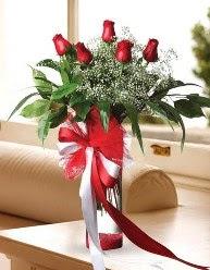 Camda 5 kırmızı gül tanzimi  Mersin çiçek online çiçek siparişi