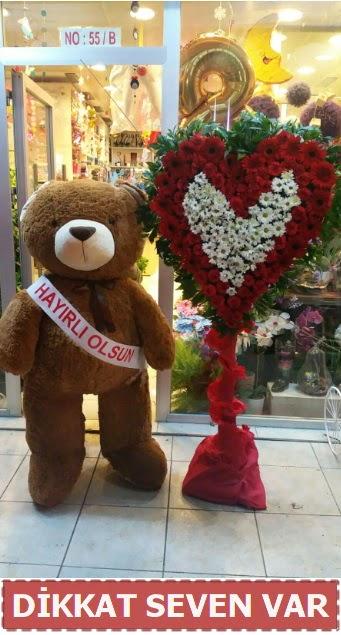 1.5 Metre peluş ayı ve Kalp  Mersin 14 şubat sevgililer günü çiçek