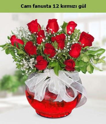 Cam içerisinde 12 adet kırmızı gül  Mersin çiçek yolla , çiçek gönder , çiçekçi