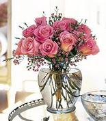 Mersin çiçek yolla , çiçek gönder , çiçekçi   12 adet pembe gülerden mika yada cam vazo