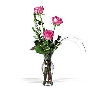 Mersin İnternetten çiçek siparişi  3 adet pembe güller cam yada mika vazo tanzim