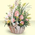 Mersin ucuz çiçek gönder  sepette pembe güller