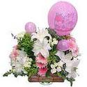 balon ve çiçeklerle tanzim  Mersin çiçek yolla , çiçek gönder , çiçekçi