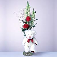 2 adet gül ve panda özel  Mersin yurtiçi ve yurtdışı çiçek siparişi