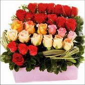 15 adet renkli gül ve cam   Mersin yurtiçi ve yurtdışı çiçek siparişi
