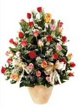 91 adet renkli gül aranjman   Mersin 14 şubat sevgililer günü çiçek