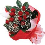 Mersin çiçek yolla , çiçek gönder , çiçekçi   KIRMIZI AMBALAJ BUKETINDE 12 ADET GÜL