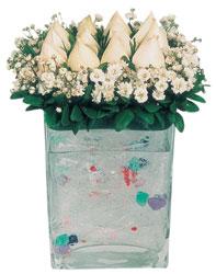 Mersin yurtiçi ve yurtdışı çiçek siparişi  7 adet beyaz gül cam yada mika vazo tanzim