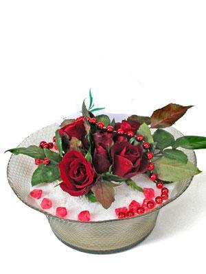 Mersin çiçek yolla  EN ÇOK Sevenlere 7 adet kirmizi gül mika yada cam tanzim