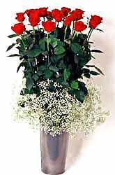 Mersin çiçekçi telefonları  9 adet kirmizi gül cam yada mika vazoda
