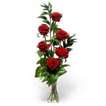 Mersin online çiçekçi , çiçek siparişi  cam yada mika vazo içerisinde 6 adet kirmizi gül
