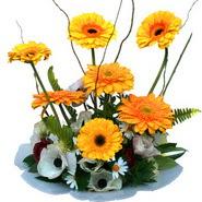 camda gerbera ve mis kokulu kir çiçekleri  Mersin çiçek online çiçek siparişi