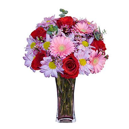 Görsel hediye karisik cam mevsim demeti  Mersin yurtiçi ve yurtdışı çiçek siparişi