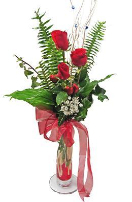 Çiçek gönderin cam vazoda 3 gül çiçekleri  Mersin online çiçekçi , çiçek siparişi