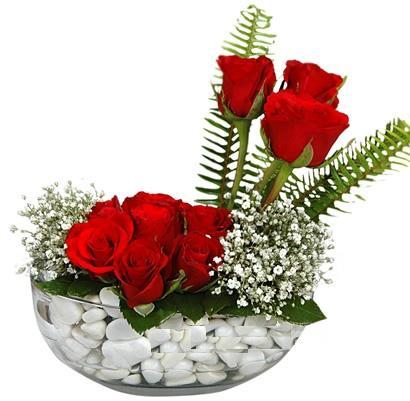 cam içerisinde 9 adet kirmizi gül  Mersin çiçek yolla