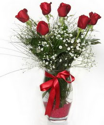 7 adet gülden cam içerisinde güller  Mersin ucuz çiçek gönder