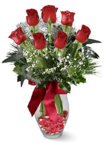 7 adet vazoda gül  Mersin çiçek yolla , çiçek gönder , çiçekçi   kirmizi gül