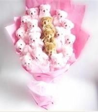 17 adet pelus ayicik buketi  Mersin uluslararası çiçek gönderme