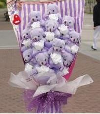 11 adet pelus ayicik buketi  Mersin 14 şubat sevgililer günü çiçek