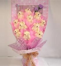 11 adet pelus ayicik buketi  Mersin anneler günü çiçek yolla
