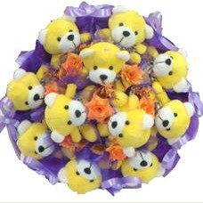 11 adet pelus ayicik buketi  Mersin çiçekçiler