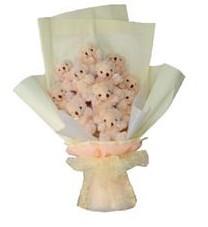 11 adet pelus ayicik buketi  Mersin kaliteli taze ve ucuz çiçekler