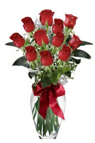 11 adet kirmizi gül vazo mika vazo içinde  Mersin ucuz çiçek gönder