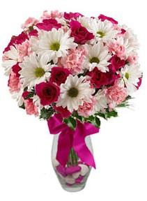 Mersin online çiçekçi , çiçek siparişi  Karisik mevsim kir çiçegi vazosu