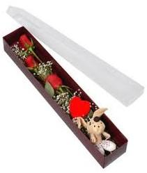 kutu içerisinde 3 adet gül ve oyuncak  Mersin çiçek satışı
