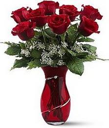 Vazo içinde 8 adet kirmizilar içinde güller  Mersin çiçek gönderme sitemiz güvenlidir