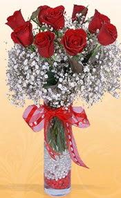 9 adet kirmizi gül cam yada mika vazoda  Mersin çiçekçiler