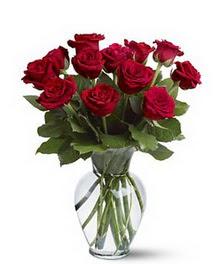 Mersin 14 şubat sevgililer günü çiçek  cam yada mika vazoda 10 kirmizi gül