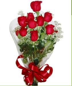 Mersin çiçek , çiçekçi , çiçekçilik  10 adet kırmızı gülden görsel buket