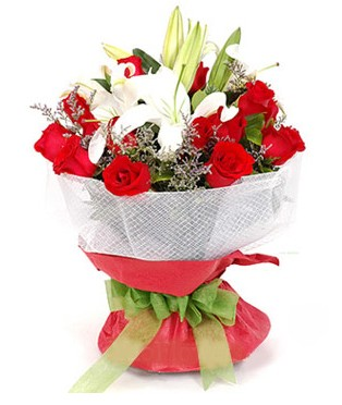 Mersin güvenli kaliteli hızlı çiçek  1 dal kazablanka 11 adet kırmızı gül buketi
