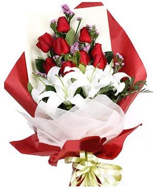 Mersin İnternetten çiçek siparişi  1 dal kazablankaa 9 adet kırmızı gül buketi