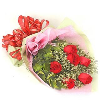 Mersin çiçek mağazası , çiçekçi adresleri  6 adet kırmızı gülden buket