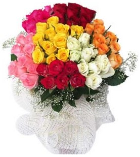 Mersin çiçek online çiçek siparişi  51 adet farklı renklerde gül buketi