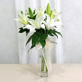 Mersin hediye çiçek yolla  2 dal kazablanka ile yapılmış vazo çiçeği