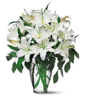 Mersin çiçek yolla , çiçek gönder , çiçekçi   4 dal kazablanka ile görsel vazo tanzimi