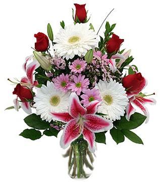 Mersin çiçekçiler  1 dal kazablanka 5 gül ve kırçiçeği vazosu