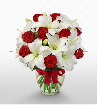 Mersin güvenli kaliteli hızlı çiçek  1 dal kazablanka 11 adet kırmızı gül vazosu